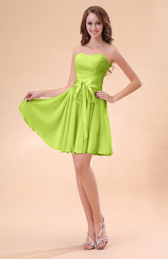 Bright Green Cute A-line Sweetheart Zip up Chiffon Sash Bridesmaid Dresses
