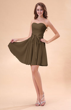 Brown Cute A-line Sweetheart Zip up Chiffon Sash Bridesmaid Dresses