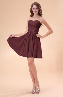 Burgundy Cute A-line Sweetheart Zip up Chiffon Sash Bridesmaid Dresses