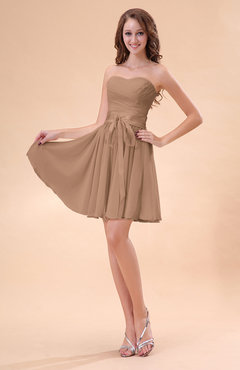 Burnt Orange Cute A-line Sweetheart Zip up Chiffon Sash Bridesmaid Dresses