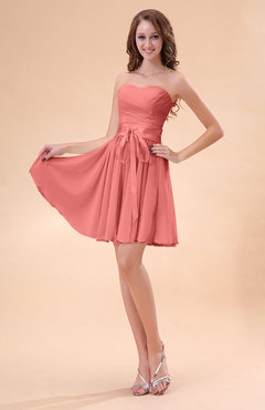 Coral Cute A-line Sweetheart Zip up Chiffon Sash Bridesmaid Dresses