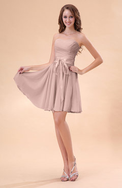 Dusty Rose Cute A-line Sweetheart Zip up Chiffon Sash Bridesmaid Dresses