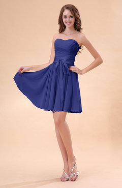 Electric Blue Cute A-line Sweetheart Zip up Chiffon Sash Bridesmaid Dresses