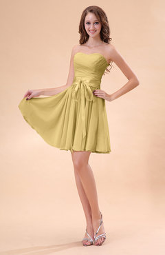 Gold Cute A-line Sweetheart Zip up Chiffon Sash Bridesmaid Dresses
