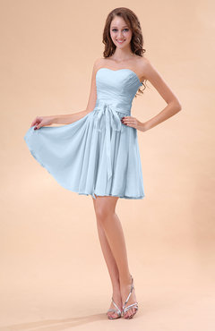 Ice Blue Cute A-line Sweetheart Zip up Chiffon Sash Bridesmaid Dresses