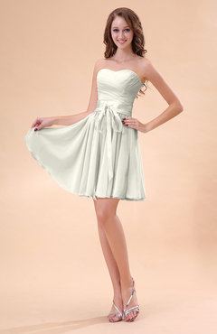 Ivory Cute A-line Sweetheart Zip up Chiffon Sash Bridesmaid Dresses
