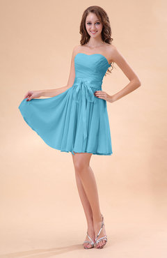 Light Blue Cute A-line Sweetheart Zip up Chiffon Sash Bridesmaid Dresses