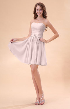 Light Pink Cute A-line Sweetheart Zip up Chiffon Sash Bridesmaid Dresses