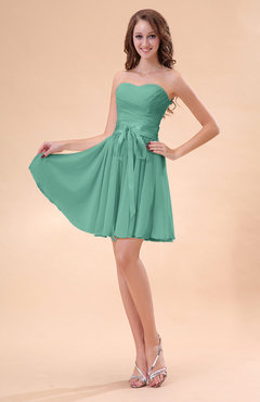 Mint Green Cute A-line Sweetheart Zip up Chiffon Sash Bridesmaid Dresses