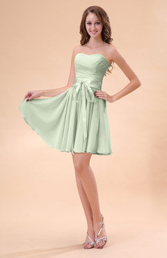 Pale Green Cute A-line Sweetheart Zip up Chiffon Sash Bridesmaid Dresses
