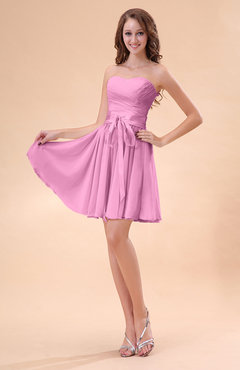 Pink Cute A-line Sweetheart Zip up Chiffon Sash Bridesmaid Dresses