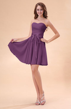 Raspberry Cute A-line Sweetheart Zip up Chiffon Sash Bridesmaid Dresses