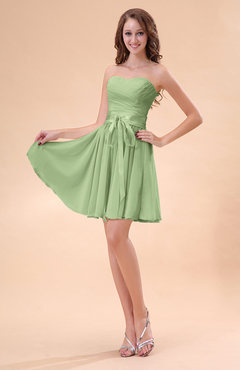 Sage Green Cute A-line Sweetheart Zip up Chiffon Sash Bridesmaid Dresses