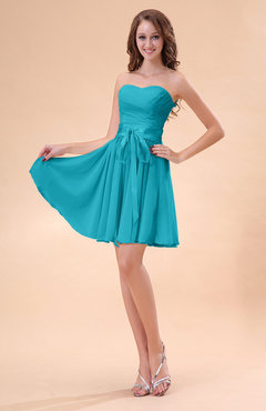 Teal Cute A-line Sweetheart Zip up Chiffon Sash Bridesmaid Dresses