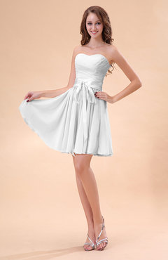 White Cute A-line Sweetheart Zip up Chiffon Sash Bridesmaid Dresses