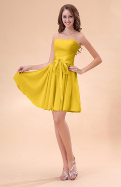 Yellow Cute A-line Sweetheart Zip up Chiffon Sash Bridesmaid Dresses
