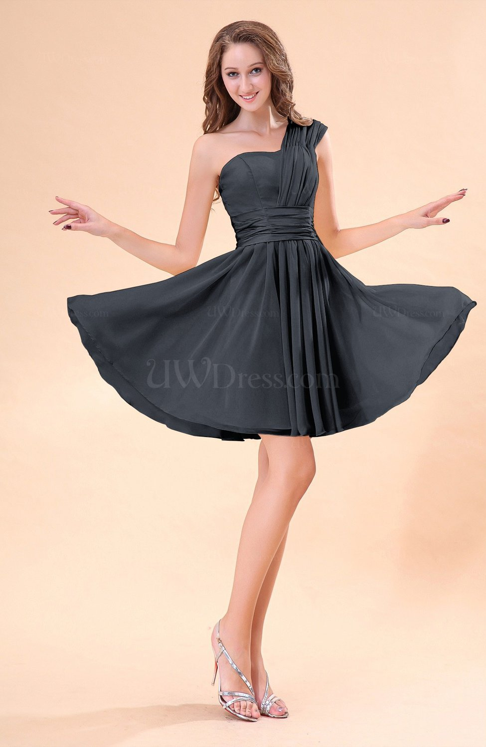 Black cute a line sleeveless mini ruching wedding guest for Black guest wedding dresses