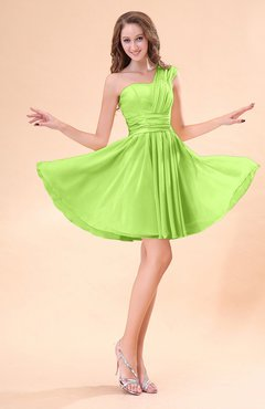 Bright Green Cute A-line Sleeveless Mini Ruching Wedding Guest Dresses