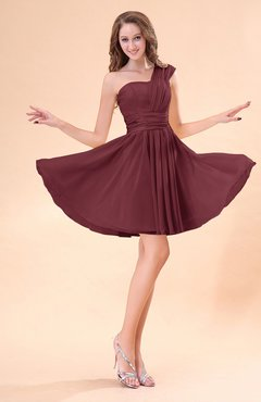 Burgundy Cute A-line Sleeveless Mini Ruching Wedding Guest Dresses