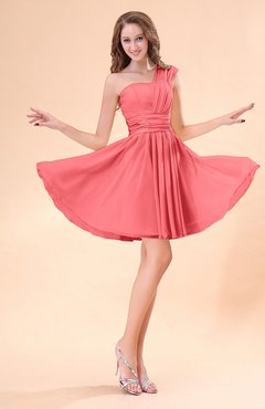 Coral Cute A-line Sleeveless Mini Ruching Wedding Guest Dresses