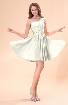 Cream Cute A Line Sleeveless Mini Ruching Wedding Guest Dresses