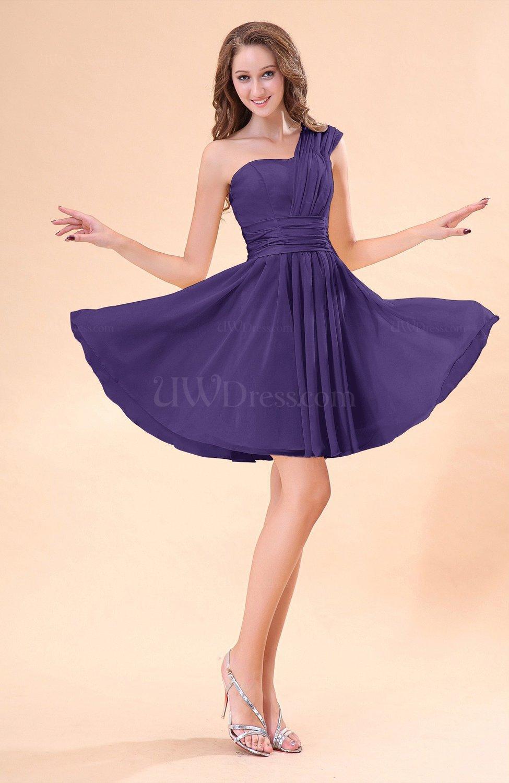 Dark Purple Cute A Line Sleeveless Mini Ruching Wedding Guest Dresses