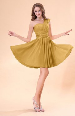 Gold Cute A-line Sleeveless Mini Ruching Wedding Guest Dresses