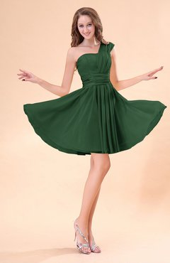Hunter Green Cute A-line Sleeveless Mini Ruching Wedding Guest Dresses