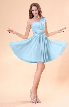 Ice Blue Cute A-line Sleeveless Mini Ruching Wedding Guest Dresses