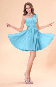 Light Blue Cute A-line Sleeveless Mini Ruching Wedding Guest Dresses