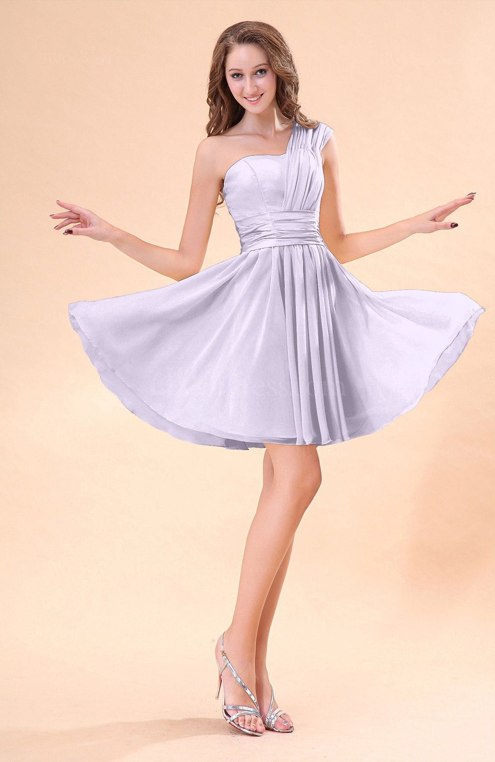 Light purple cute a line sleeveless mini ruching wedding for Purple dresses for wedding guests