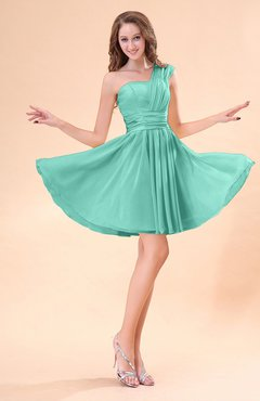 Mint Green Cute A-line Sleeveless Mini Ruching Wedding Guest Dresses