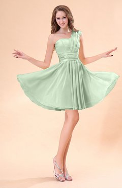 Pale Green Cute A-line Sleeveless Mini Ruching Wedding Guest Dresses