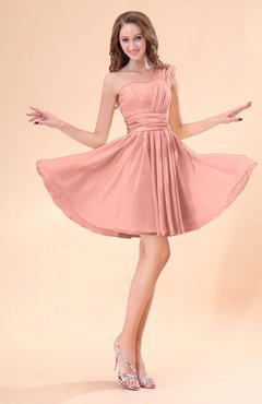 Peach Cute A Line Sleeveless Mini Ruching Wedding Guest Dresses
