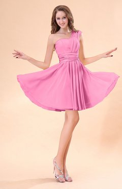 Pink Cute A-line Sleeveless Mini Ruching Wedding Guest Dresses