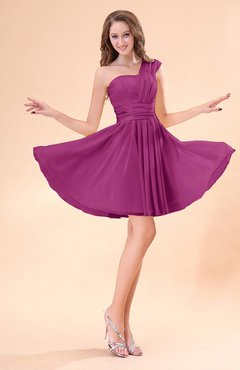 Raspberry Cute A-line Sleeveless Mini Ruching Wedding Guest Dresses