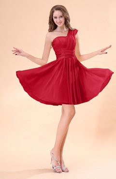 Red Cute A-line Sleeveless Mini Ruching Wedding Guest Dresses