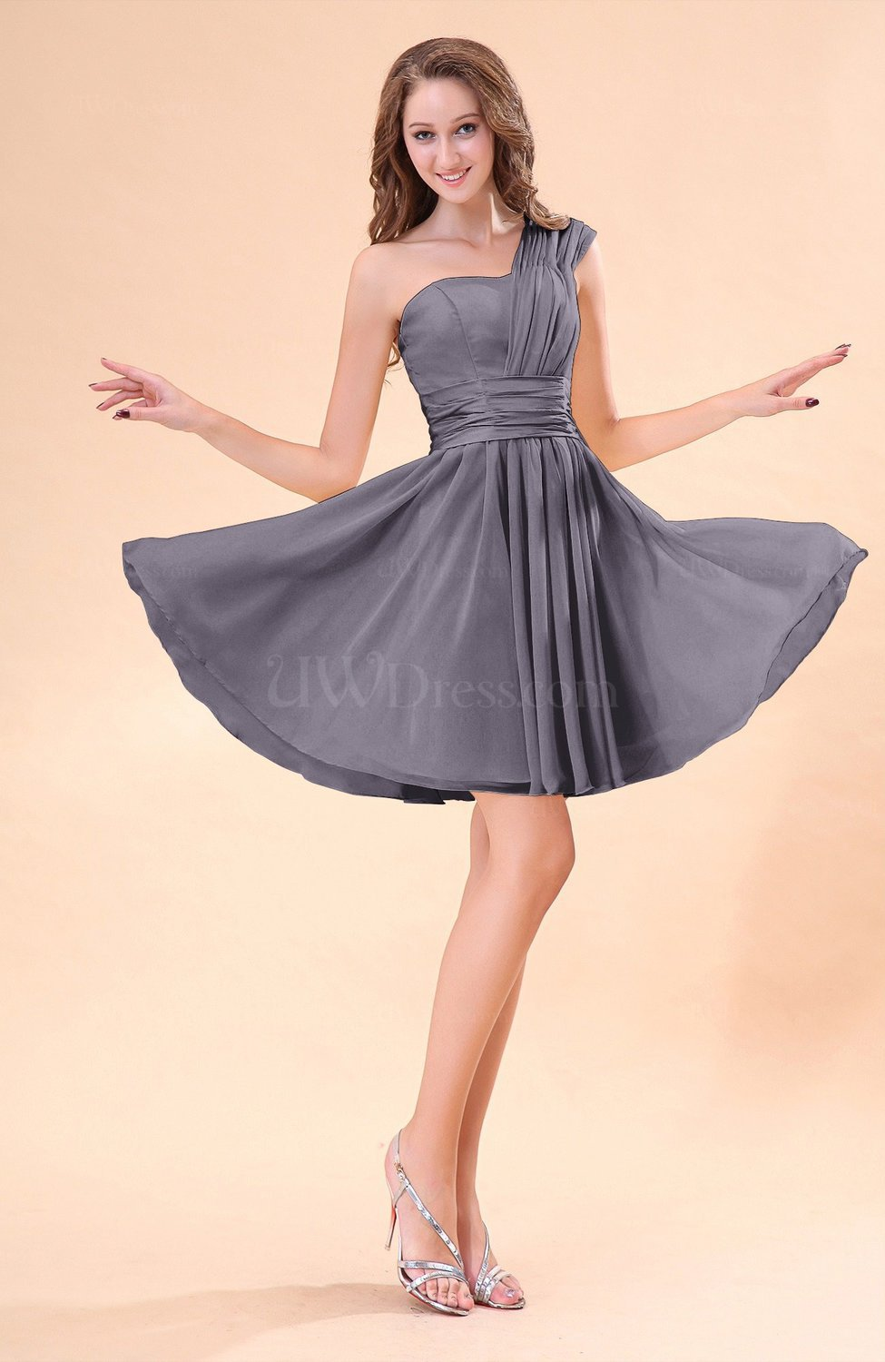 Ridge grey cute a line sleeveless mini ruching wedding for Grey dress wedding guest