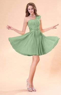 Sage Green Cute A-line Sleeveless Mini Ruching Wedding Guest Dresses