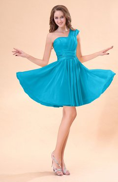 Teal Cute A-line Sleeveless Mini Ruching Wedding Guest Dresses