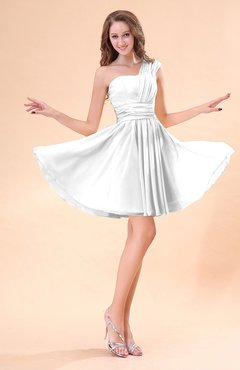 White Cute A-line Sleeveless Mini Ruching Wedding Guest Dresses