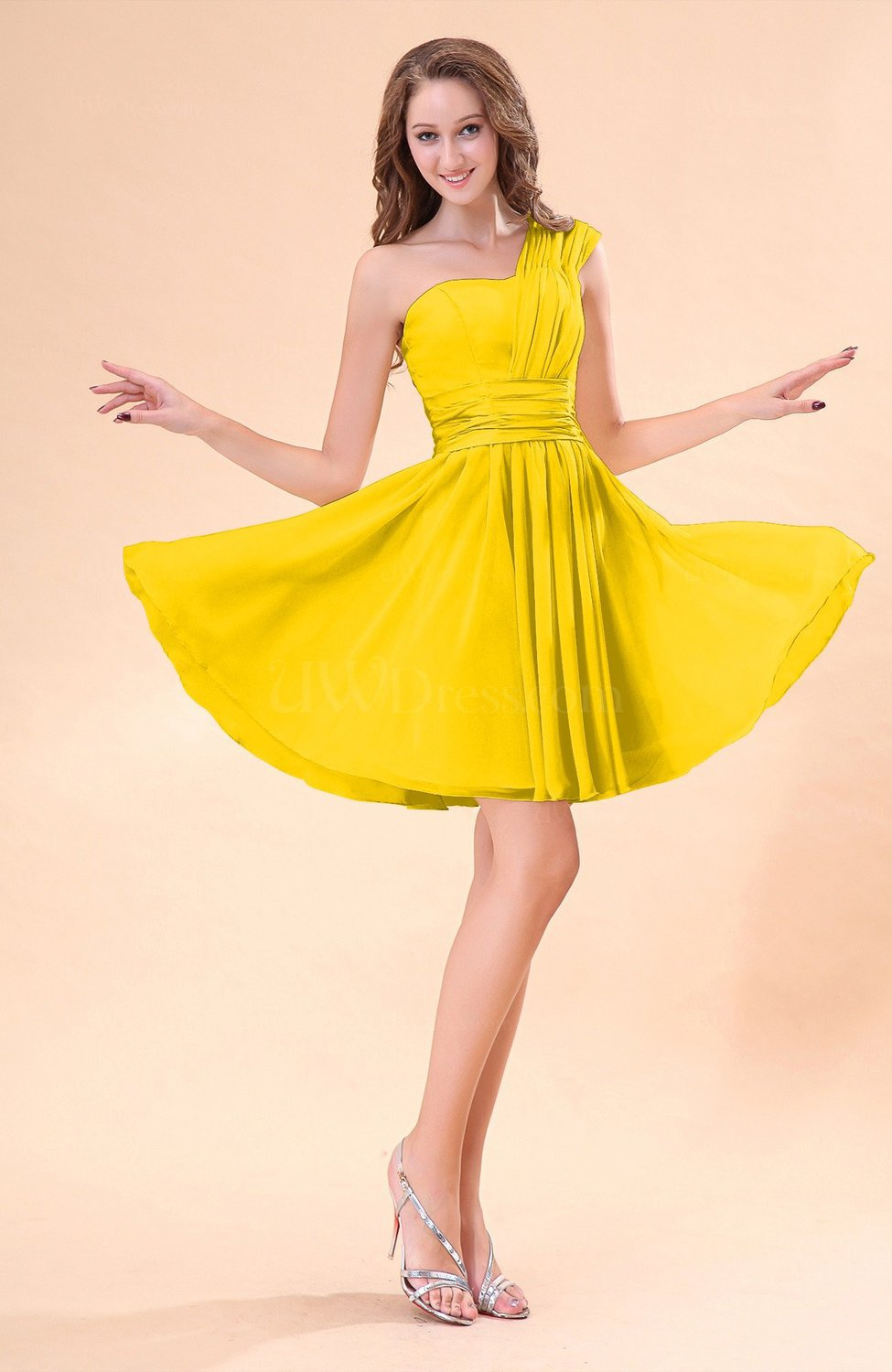 Yellow cute a line sleeveless mini ruching wedding guest for Yellow dresses for wedding guests