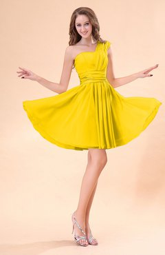 Yellow Cute A-line Sleeveless Mini Ruching Wedding Guest Dresses
