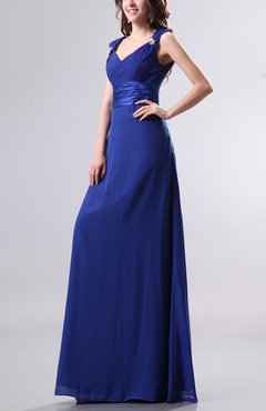 Electric Blue Elegant Empire Thick Straps Chiffon Floor Length Ruching Evening Dresses