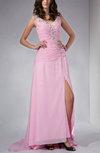 Glamorous Column Zip up Brush Train Rhinestone Evening Dresses