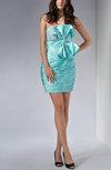 Sexy Sheath Strapless Silk Like Satin Short Lace Club Dresses