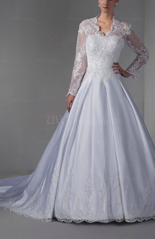 White disney princess hall a line long sleeve zipper for Disney line wedding dresses