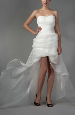 White Modern Hall Sweetheart Backless Organza Brush Train Bridal Gowns