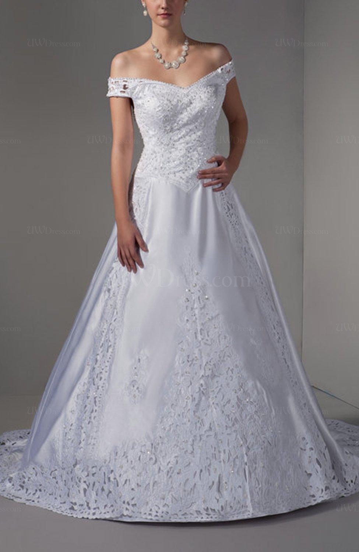 White elegant hall off the shoulder lace up satin court for Off the shoulder satin wedding dress