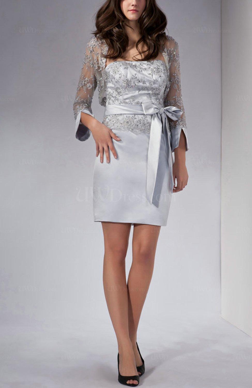 Silver Elegant Sheath Sleeveless Satin Mini Bow Wedding Guest Dresses